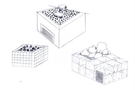 dessins préparatoires :  BABYLON A.D. 2016, jardins minéraux, bois, contreplaqué, carrelage, pierres d'ornement, bois flottés, graviers, portes en verre et impressions sur toiles non tissées, éclairages, résine et vernis sur verre. Dimensions variables. Dans le cadre de l'exposition personnelle Slide Like An Egytian à l'Appartement / Galerie Interface, Dijon.